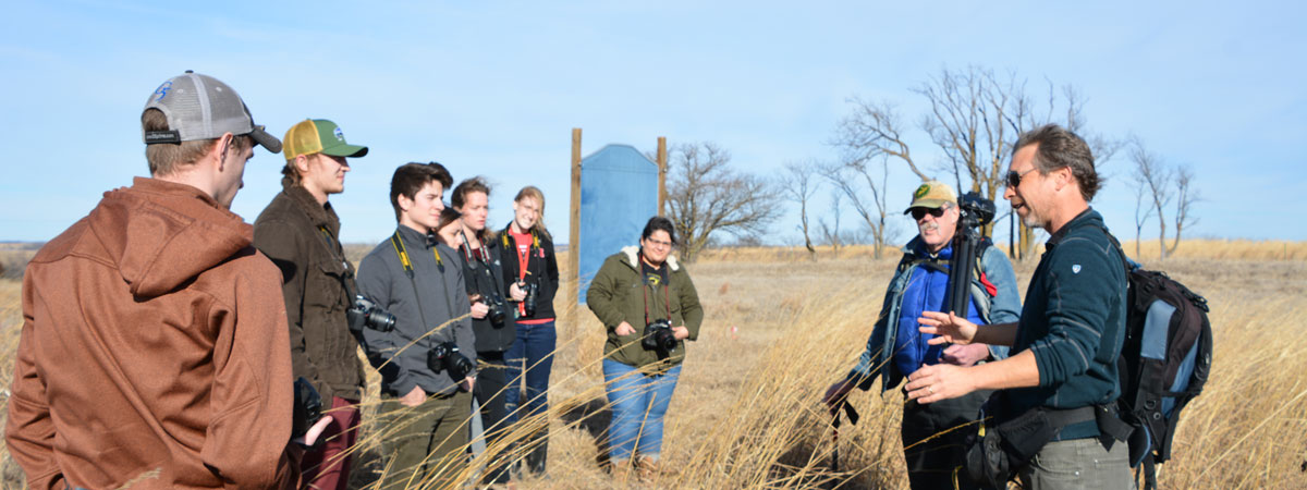 Michael Forsberg and Michael Farrell at Nine Mile Prairie with students