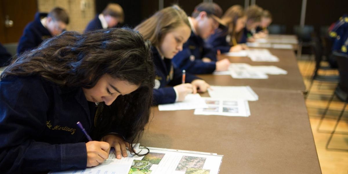 FFA students taking test